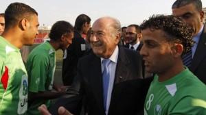 Blatter bei einem Freundschaftsspiel Palästina-Dakar im WJL 2011