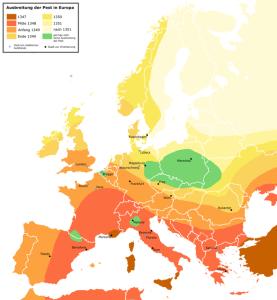 R. Zenner: Verbreitung der Pest 1347 bis 1351 in Europa
