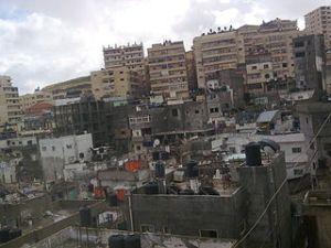 Shuafat, vorne Teile des ehemaligen Flüchtlingslagers, hinter die Neubauten